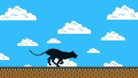 Pantera negra que corre en un viejo videojuego Arcade Style