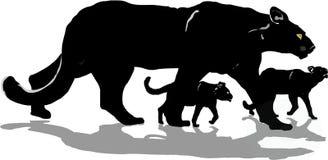 Panthère noire avec des animaux Illustration Libre de Droits