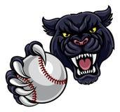 Panthère noire tenant la mascotte de boule de base-ball illustration libre de droits