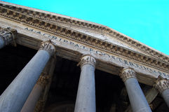 Pantheon – Exterior Front, Rome. Extreme view looking up at the façade of the ancient Pantheon located in Rome, Italy Royalty Free Stock Photography