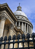 The Pantheon. And its' protective fence against a blue sky stock photos