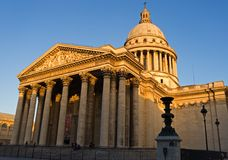 The Pantheon. Wide-angle view of the Pantheon at dusk - Paris, France stock image