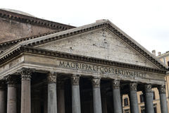 Pantheon of Agripa Pillars in Rome Stock Photo