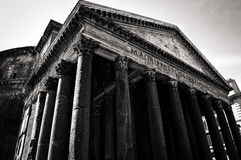 Pantheon. Ancient building in Rome with columns in black and white Royalty Free Stock Images