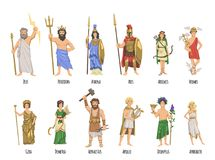 Pantheon of ancient Greek gods, mythology. Set of characters with names. Flat vector illustration. on white. Pantheon of ancient Greek gods, Ancient Greece stock illustration