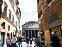 The Pantheon building in Rome Italy is now a church but formerly it was a building dedicated the all the Gods of Ancient Rome Royalty Free Stock Photo