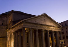 Pantheon building at twilight in Rome Stock Photo