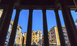 Pantheon Columns Della Porta Fountain Piazza Rotunda Rome Italy Royalty Free Stock Photos