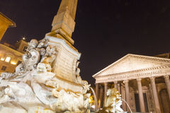 Pantheon Della Rotunda Rome. With Fountain in Foreground. Night image Royalty Free Stock Photos