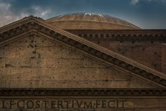 Pantheon. Detail of the famous building in Rome Stock Image