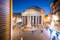 Pantheon at evening in Rome, Italy, Europe. Ancient Roman architecture and landmark stock images
