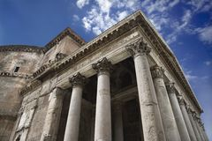 Pantheon exterior in Rome, Italy. Royalty Free Stock Image