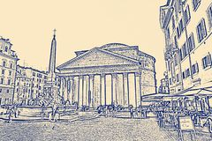 The Pantheon a former Roman temple, now a church, in Rome, Italy.  royalty free illustration
