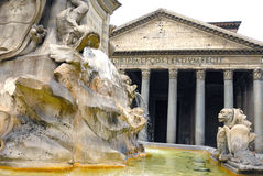 Pantheon and Fountain. Pantheon in the morning and fountain in Piazza della Rotonda Rome, Italy Royalty Free Stock Image