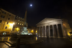 Pantheon, Fountain and bright star, historic building in Rome, Italy - Night Royalty Free Stock Image