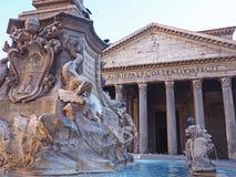 Pantheon Fountain in Rome Stock Photo