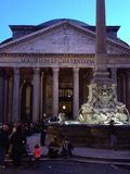 Pantheon and fountain at twilight Stock Images
