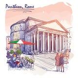 Pantheon geschilderde schets stock afbeelding
