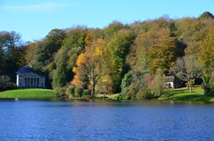 Pantheon & Gothic Cottage, Autumn at Stourhead Stock Images