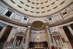 Pantheon, landmark, building, ceiling, classical architecture. Pantheon is landmark, classical architecture and basilica. That marvel has building, dome and royalty free stock images