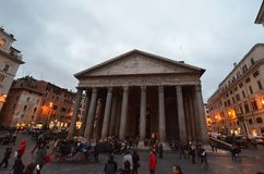 Pantheon, landmark, town square, city, sky. Pantheon is landmark, sky and ancient rome. That marvel has town square, town and urban area and that beauty contains Royalty Free Stock Photography