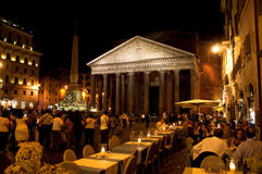The Pantheon at night on August 8, 2013 in Rome, Italy. Royalty Free Stock Photography
