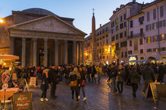 Pantheon at Night, Rome Royalty Free Stock Images