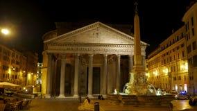 Pantheon at night, rome, italy, timelapse, 4k stock footage