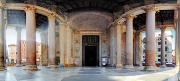 Pantheon - panorama with columns near entrance Stock Photos