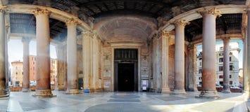 Pantheon - panorama met kolommen dichtbij ingang stock foto's