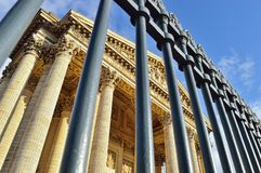 Pantheon in Paris. View of Pantheon in Paris through wrought iron fence Stock Photos