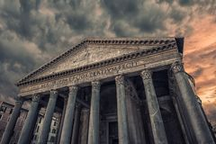 Pantheon in Rome. Facade of the famous monument in Rome : the Pantheon stock images