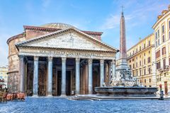 Pantheon in Rome, famous Roman temple, Italy, no people stock photos