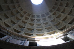 The Pantheon in Rome Italy. The Pantheon in Rome from, A beam of light falls through the hole in the hemispherical roof Stock Images