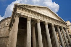 Pantheon in Rome Italy. Dramatic view of the Pantheon in Rome Italy against a brilliant blue sky Stock Photo