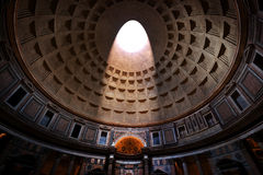 The Pantheon, Rome, Italy. Light shining through an oculus in the ceiling Stock Images