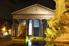 The Pantheon in Rome, Italy. Photo is taken at night with a long shutter time. Fountain on Piazza della Rotonda Stock Image