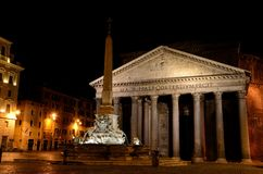 Pantheon, Rome at night. The Pantheon is a building in Rome, Italy, commissioned by Marcus Agrippa as a temple to all the gods of Ancient Rome, and rebuilt by Stock Image