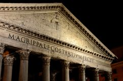 Pantheon, Rome at night. The Pantheon is a building in Rome, Italy, commissioned by Marcus Agrippa as a temple to all the gods of Ancient Rome, and rebuilt by Stock Photos
