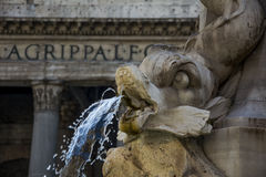 Pantheon in Rome - particular of fountain Royalty Free Stock Images