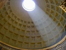 Pantheon in Rome sun ray. In June Royalty Free Stock Image