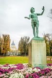 Pantheon and statue in Jardin du Luxembourg. In Paris royalty free stock photos
