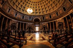 Pantheon in Rome , Roma Italy. Pantheon Temple Interior in Rome / Roma during day stock photo