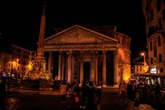 Pantheon in Rome , Roma Italy by night Royalty Free Stock Images