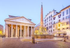 Pantheon view at night light. Rome, Italy Royalty Free Stock Photo