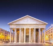 Pantheon view at night light. Rome, Italy Royalty Free Stock Images