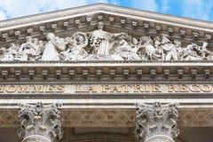 Pantheonvoorgevel in Parijs Stock Foto