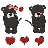 Panther baby cartoon valentine rose set Royalty Free Stock Photography