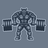 Panther bodybuilder lifting barbell and growls Stock Photography