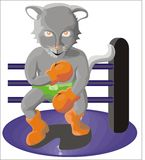 Panther in boxing ring. Cartoon illustration of panther in boxing gloves with ring, isolated on white background with copy space Stock Photo